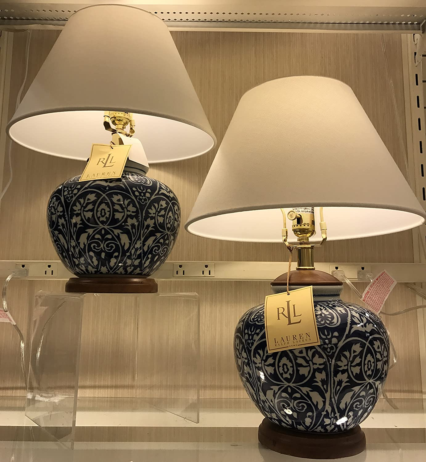 Pair Of Two (2), Ralph Lauren Round Ginger Jar Blue And White Floral Vine  Porcelain Ceramic Traditional Table Lamps With Silk Shades     Amazon.com