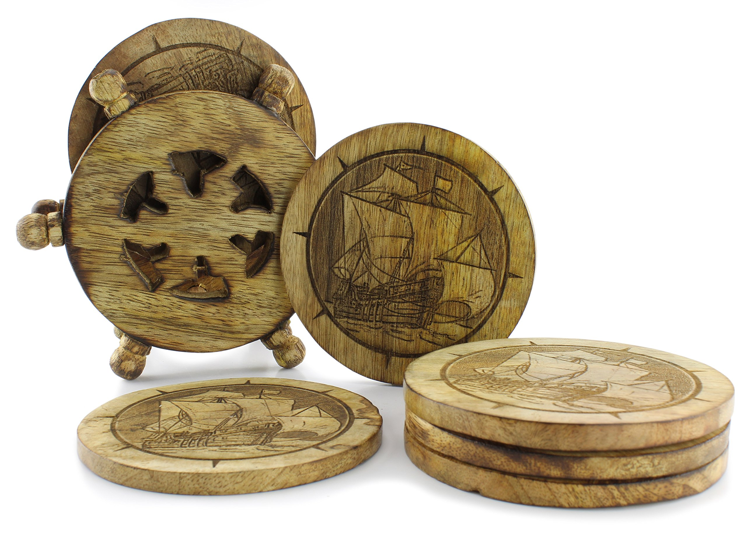 Wooden Sailing Ship Drink Coasters (Set of 6); Nautical Clipper Ship Distressed Driftwood Color w/Ship's Wheel Wood Holder