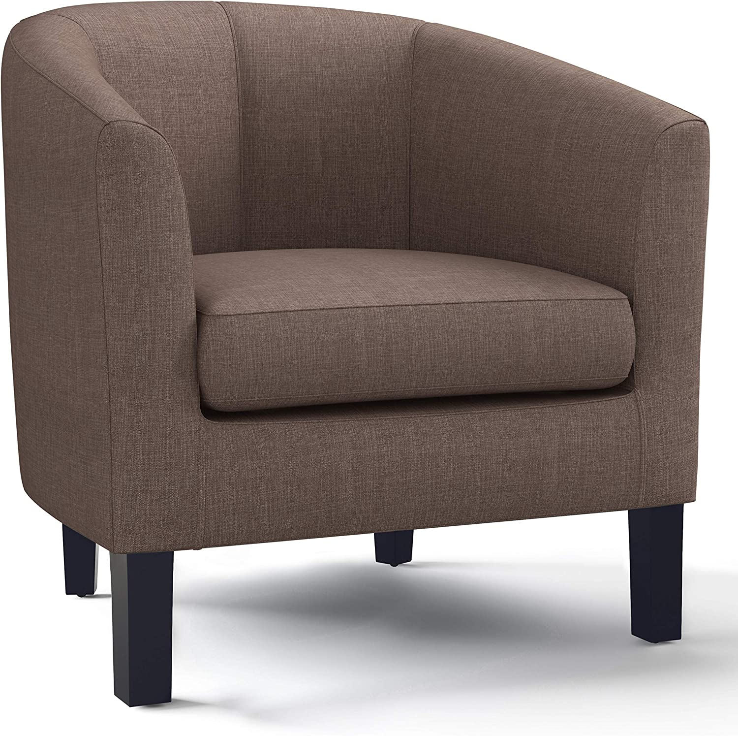 SIMPLIHOME Austin 30 inch Wide Transitional Tub Chair in Light Mocha Linen Look Fabric