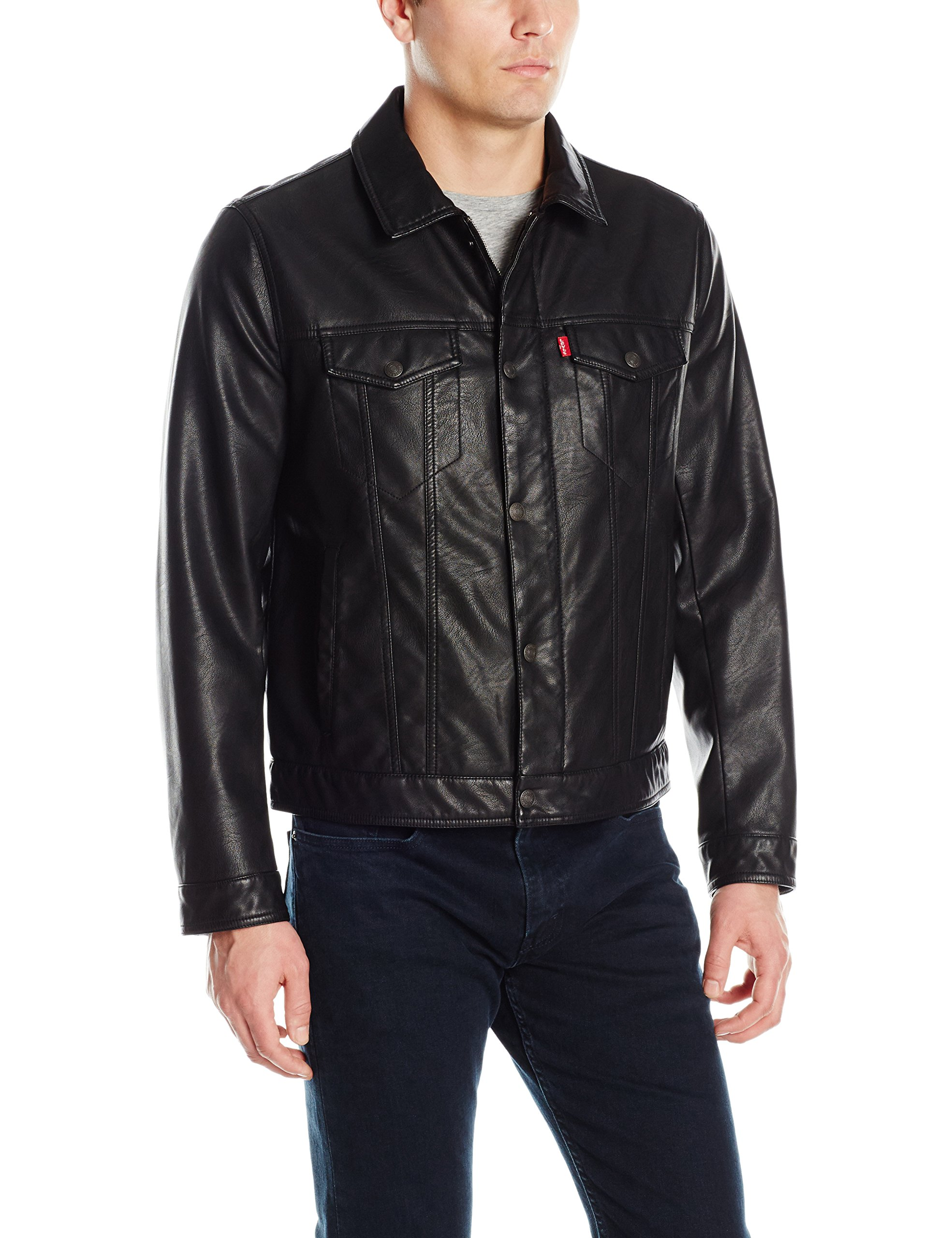 Levi's Men's Smooth Lamb Touch Faux Leather Classic Trucker Jacket, Black, Medium