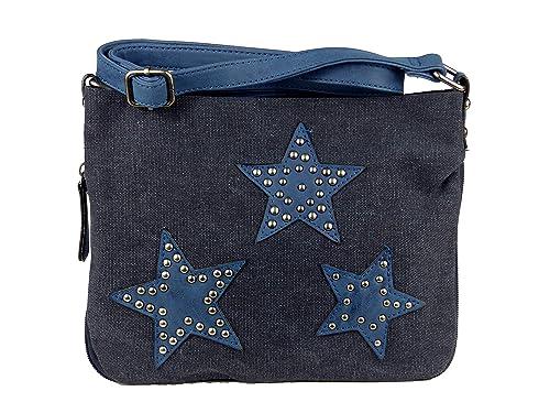 fe7f318fbdf83 yourlifeyourstyle Umhängetasche Canvas aufgenähte Sterne und Nieten Maße 27 x  20 cm ohne Schulterriemen - Damen Mädchen Teenager Tasche (blau)   Amazon.de  ...