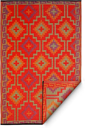 Amazon Com Fab Habitat Reversible Rugs Indoor Or Outdoor Use Stain Resistant Easy To Clean Weather Resistant Floor Mats Lhasa Orange Violet 8 X 10 Furniture Decor