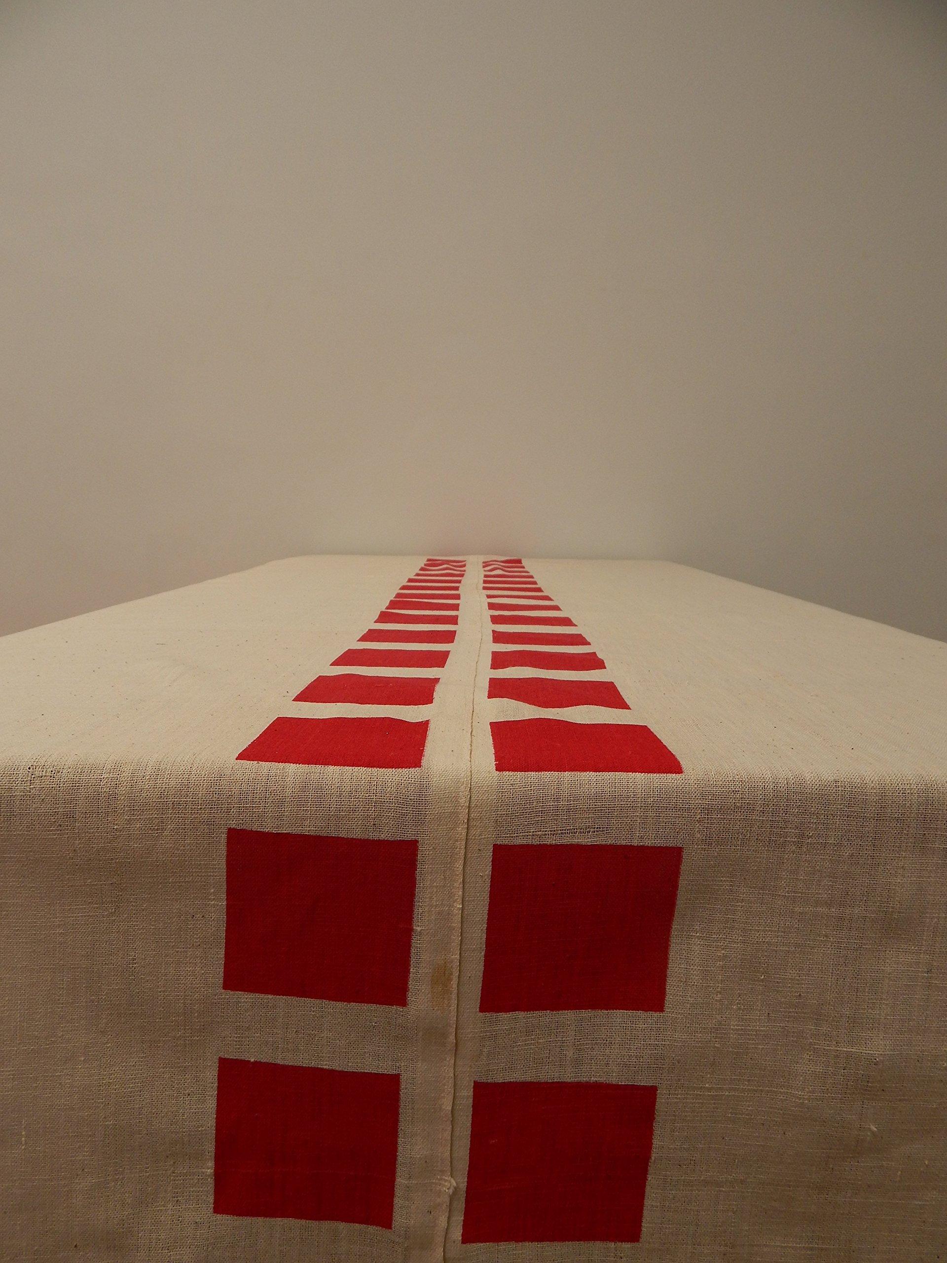 Gitika Goyal Home Cotton Khadi Red Screen Printed Tablecloth with Square Design, Cream, 72'' x 108''