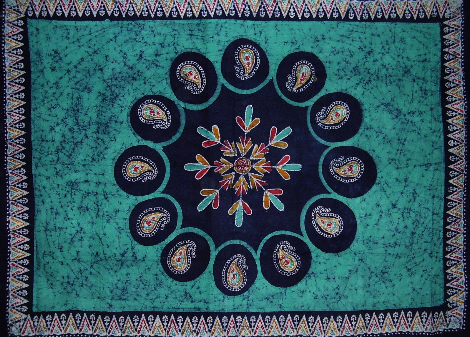 Batik Tapestry Cotton Wall Hanging or Tablecloth 90'' x 60'' Green