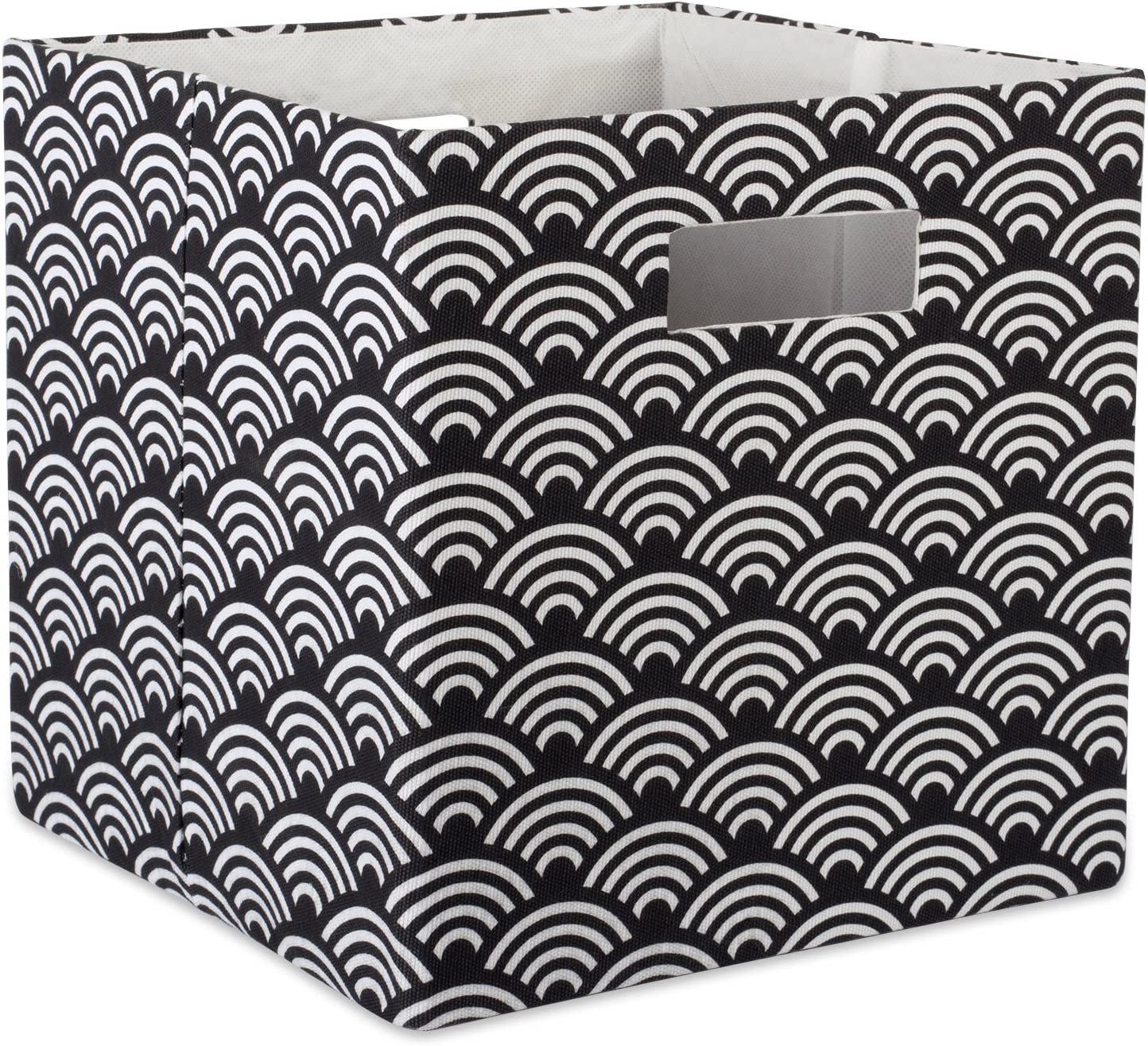 """DII Hard Sided Collapsible Fabric Storage Container for Nursery, Offices, & Home Organization, (13x13x13"""") - Waves Black"""