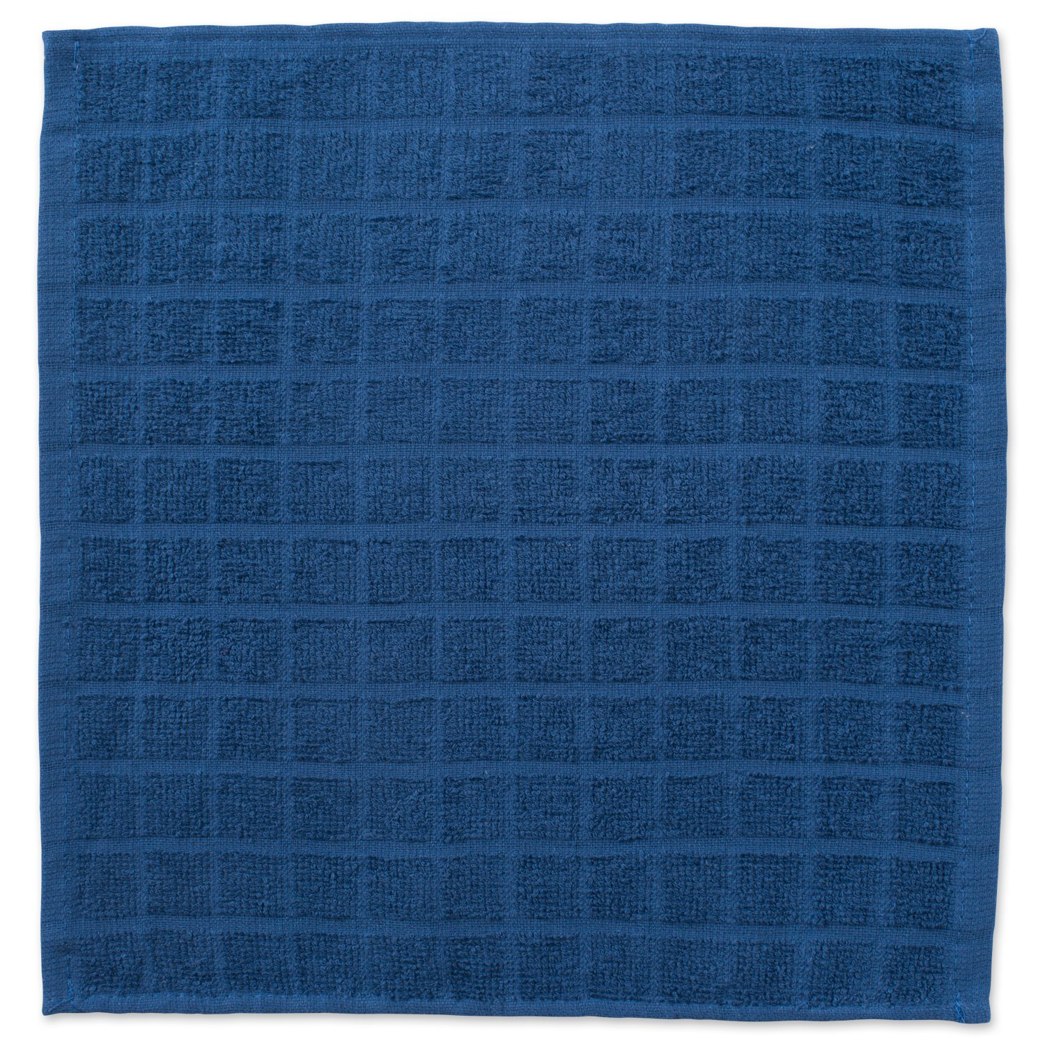 DII Cotton Terry Windowpane Dish Cloths, 12 x 12'' Set of 6, Machine Washable and Ultra Absorbent Kitchen Bar Towels-Solid Blue by DII (Image #2)