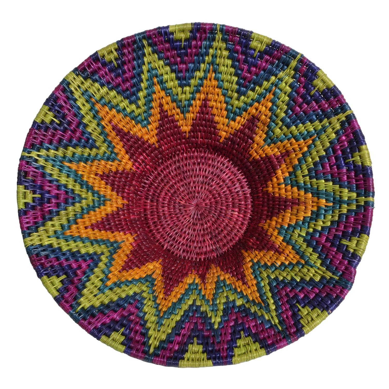 African Fair Trade Hand Woven 8.5-inch Basket, Rainbow Gone Rural Swaziland GR-LB2-RA