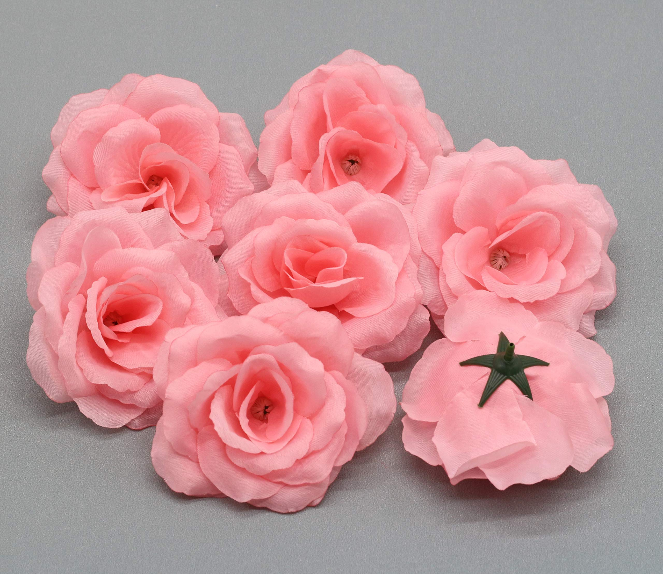 Silk Flowers Wholesale 100 Artificial Silk Rose Heads Bulk Flowers 10cm For Flower Wall Kissing Balls Wedding Supplies (Coral Pink)