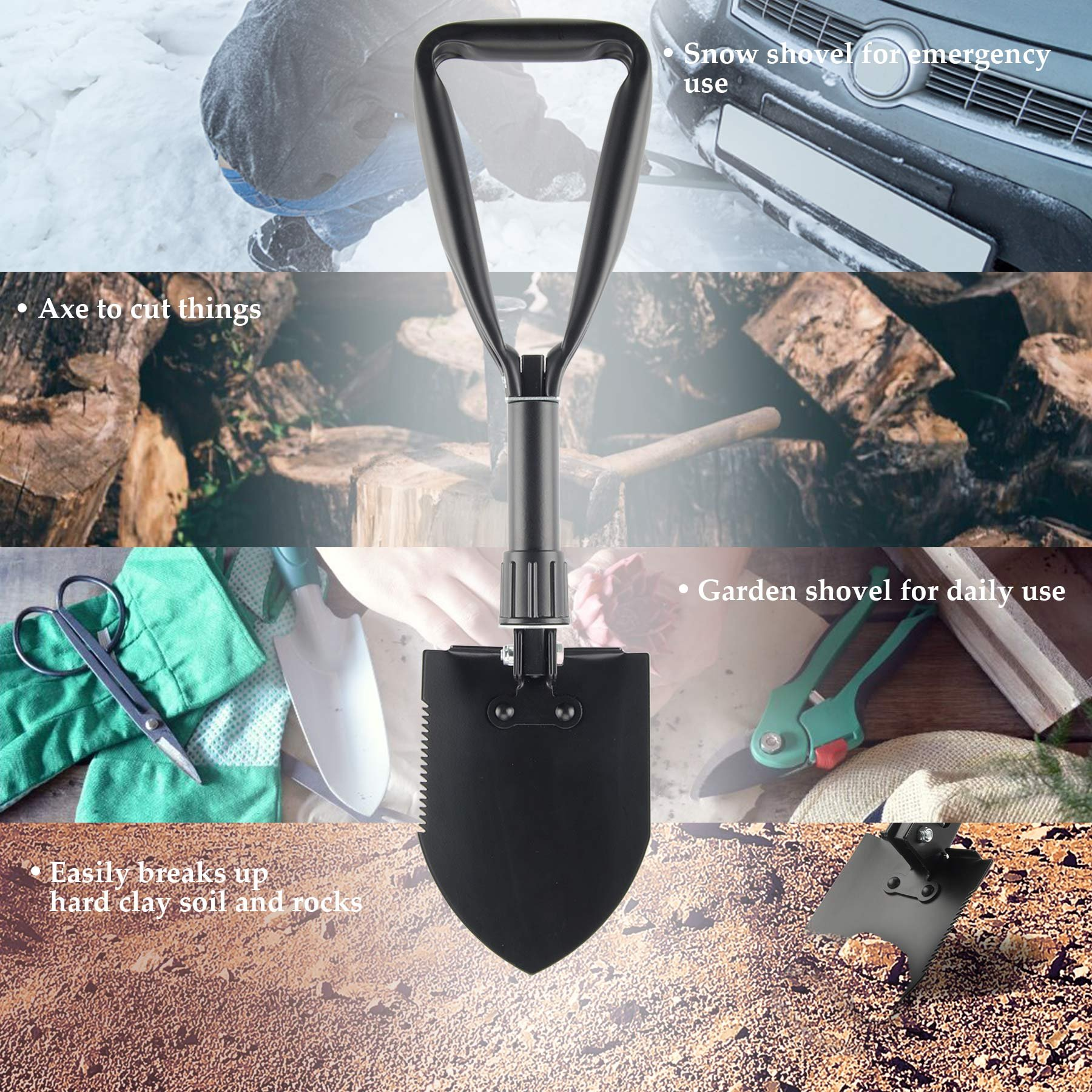 CO-Z Mini Folding Shovel High Carbon Steel Portable Lightweight Outdoor Survival Shovel, Nylon Carry Case, Camping, Hiking, Digging, Backpacking, Car Emergency by CO-Z (Image #6)