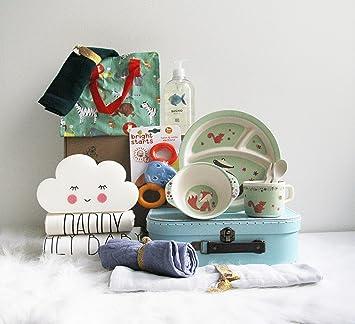 Canastilla bebé unisex Happy Baby - Cesta regalo bebé a partir de 6 meses - Incluye productos de cosmética, para la hora de comer y más productos de ...