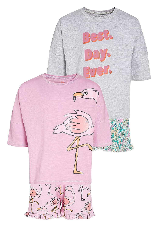 next Niñas Pack De Dos Pijamas Cortos con Estampado De Flamencos Y Flores (3-16 Años) Rosa/Gris 16 Years: Amazon.es: Ropa y accesorios