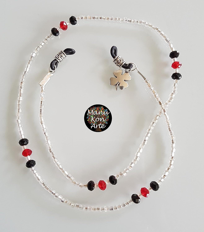 Cinta CORDÓN PARA GAFAS Cristales Swarovski Modelo Rojo y Negro: Amazon.es: Handmade