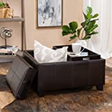 Christopher Knight Home 296879 Living Justin Brown Leather Tray Top Storage Ottoman