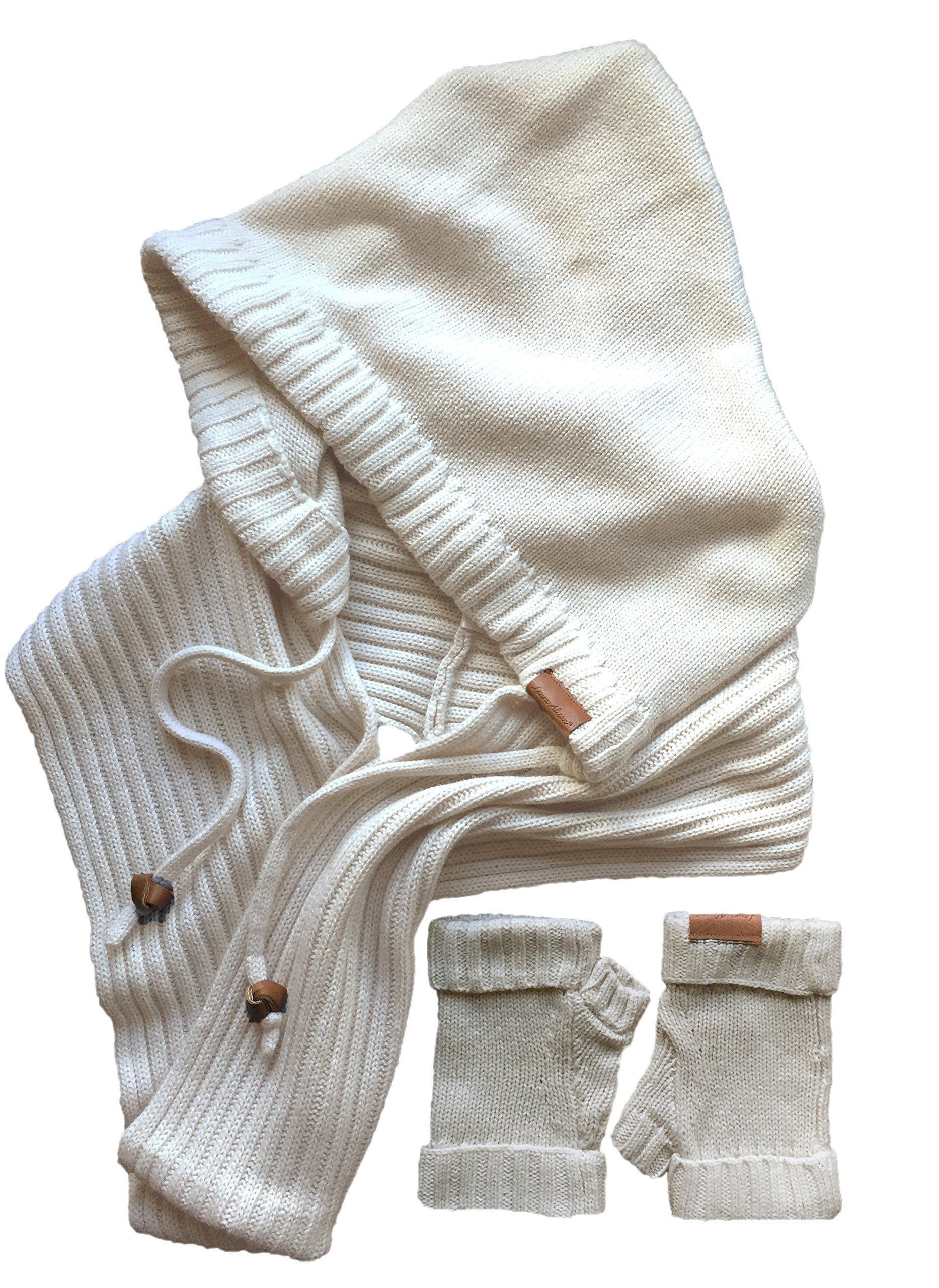 Laura Alison Wool Silk Hooded Infinity Scarf and Fingerless Glove Gift Set - White