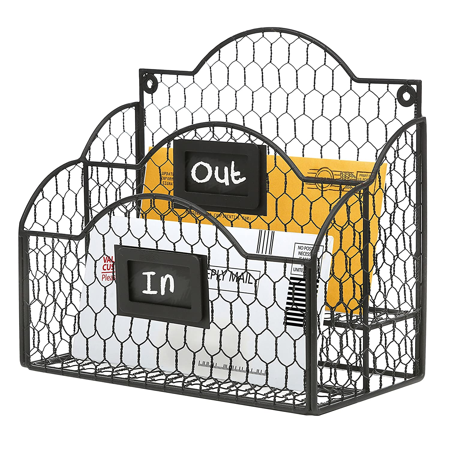 Black Metal Chicken Wire Wall Mountable Mail Sorter, Desktop Stationery Organizer w/Chalkboard Label