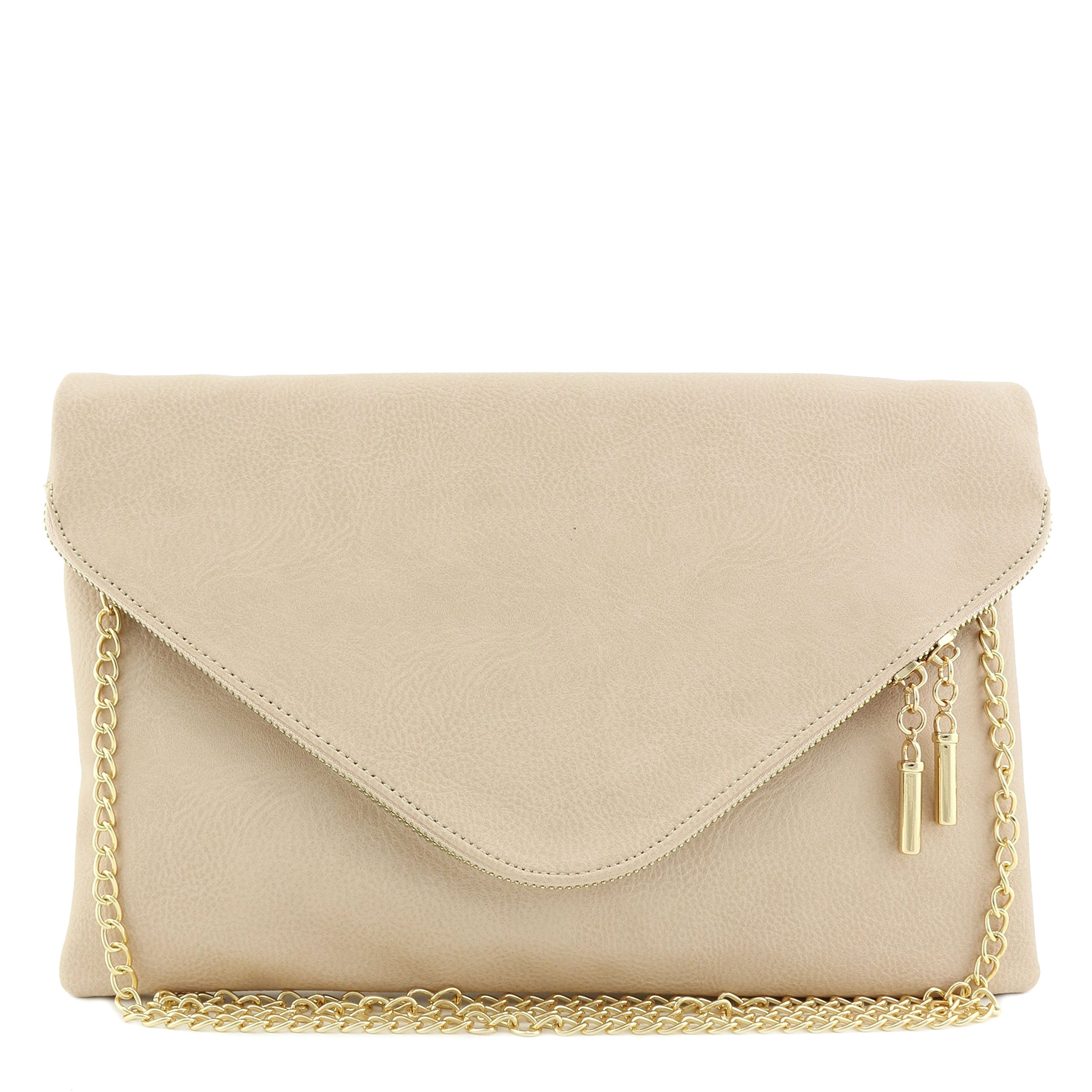 Large Envelope Clutch Bag with Chain Strap Nude