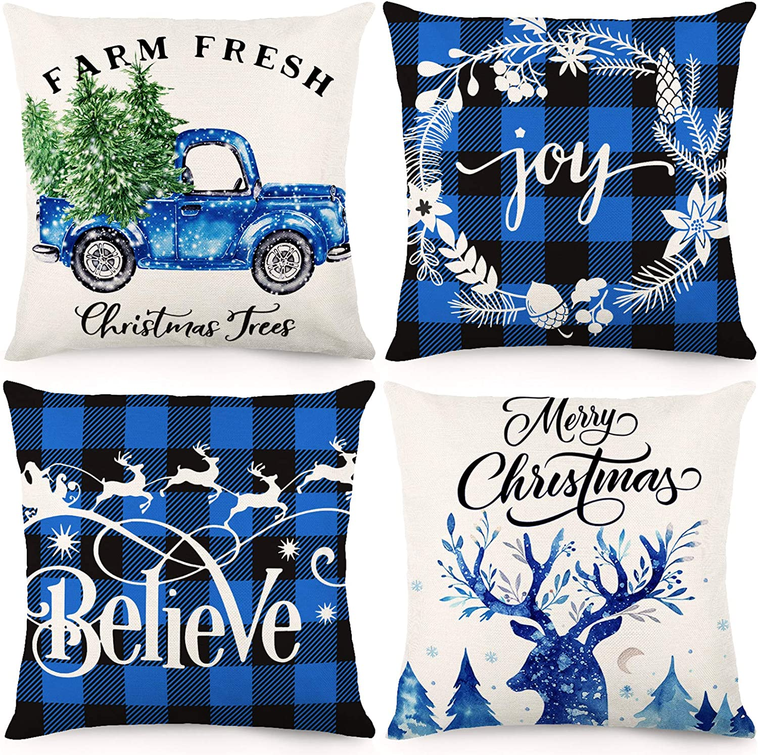 CDWERD Christmas Pillow Covers 18x18Inches Christmas Decorations Black and Blue Buffalo Check Plaid Throw Pillowcase Winter Holiday Cotton Linen Cushion Case for Home Decor Set of 4