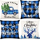 CDWERD Christmas Pillow Covers 18x18Inches Christmas Decorations Black and Blue Buffalo Check Plaid Throw Pillowcase…