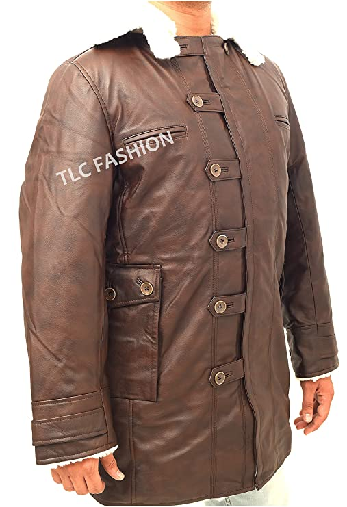 2a067af7dd8e Bane Tom Hardy Winter Shearling Coat-Distressed Brown Fur Swedish Bomber  Jacket at Amazon Men s Clothing store