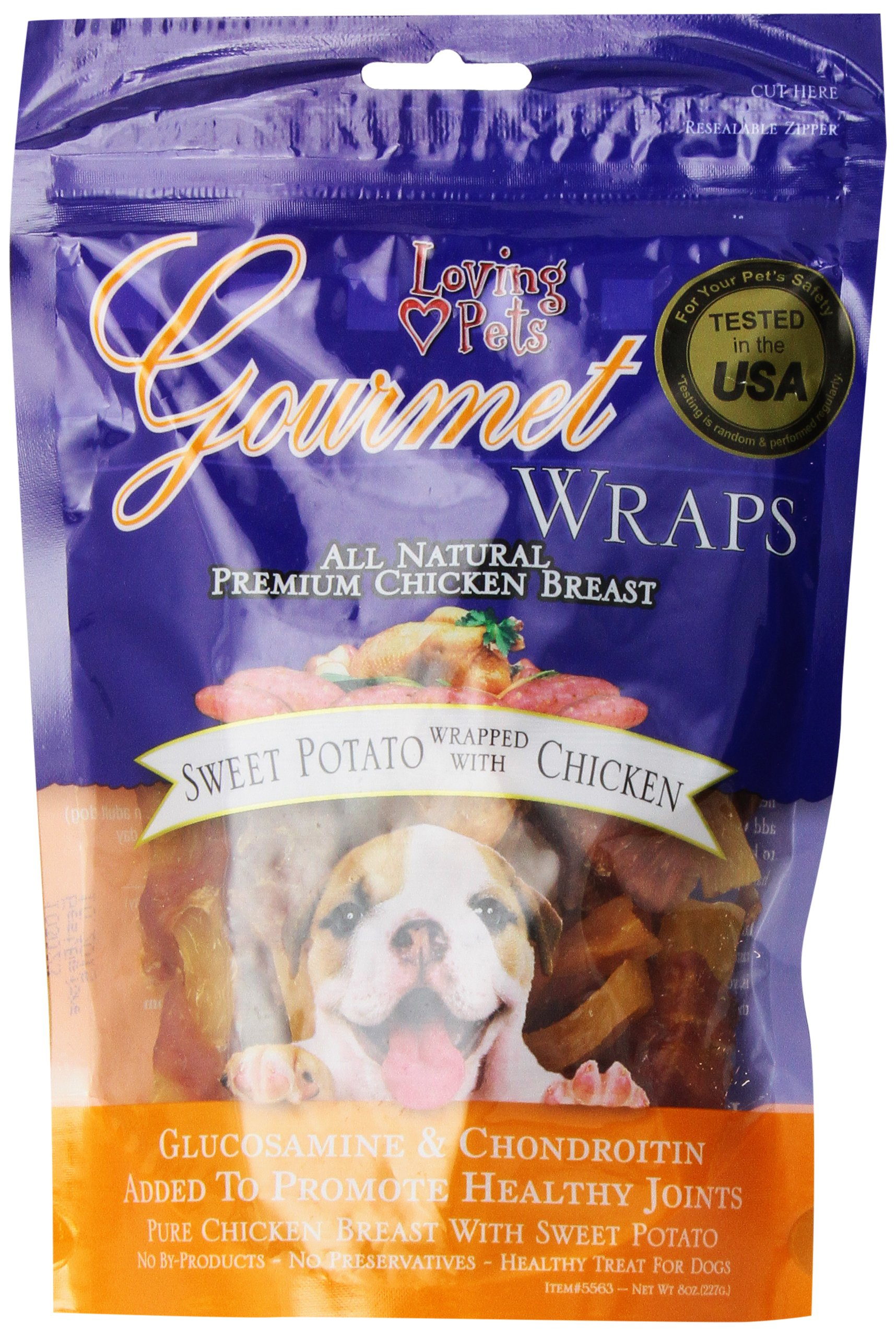 Loving Pets All Natural Premium Sweet Potato and Chicken Wraps with Glucosamine and Chondroitin Dog Treats, 8 oz
