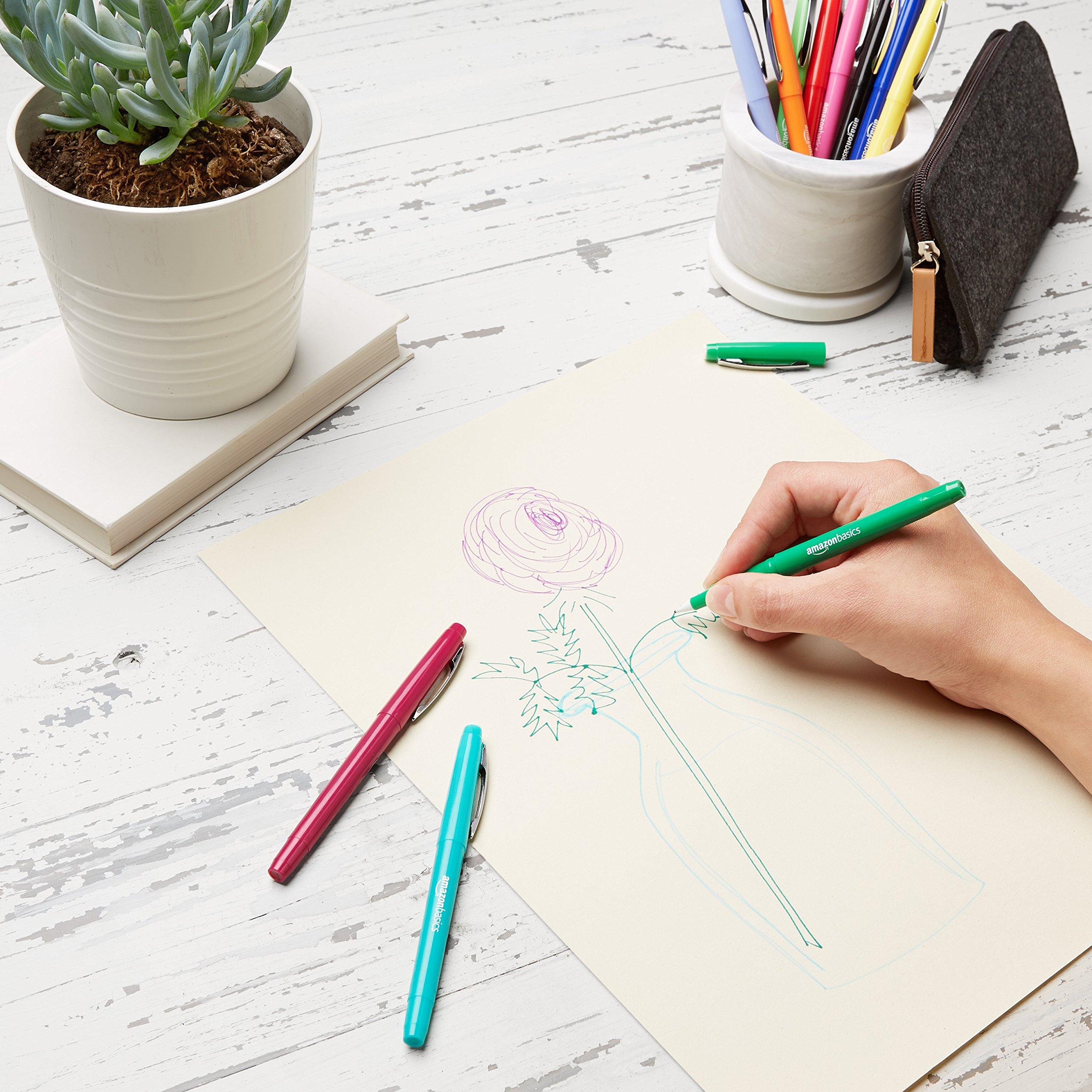 AmazonBasics Felt Tip Marker Pens - Assorted Color, 24-Pack by AmazonBasics (Image #3)
