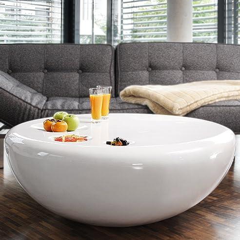 Couch-Tisch weiß Hochglanz rund aus Fiberglas Durchmesser 100cm ...