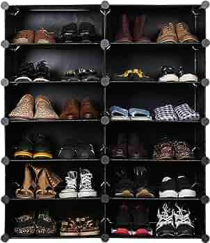 Unicoo Multi Use Diy Plastic 12 Cube Shoe Rack Organizer Bookcase Shoes Cabinet 2 6 Black With White Doors Furniture Decor