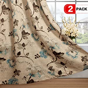 H.VERSAILTEX Vintage Rustic Style Printed Design Room Darkening Blackout Curtain Panels with Antique Grommet Top, Set of 2 Panels, W52 x L63 inch-Taupe and Aqua and Brown Floral