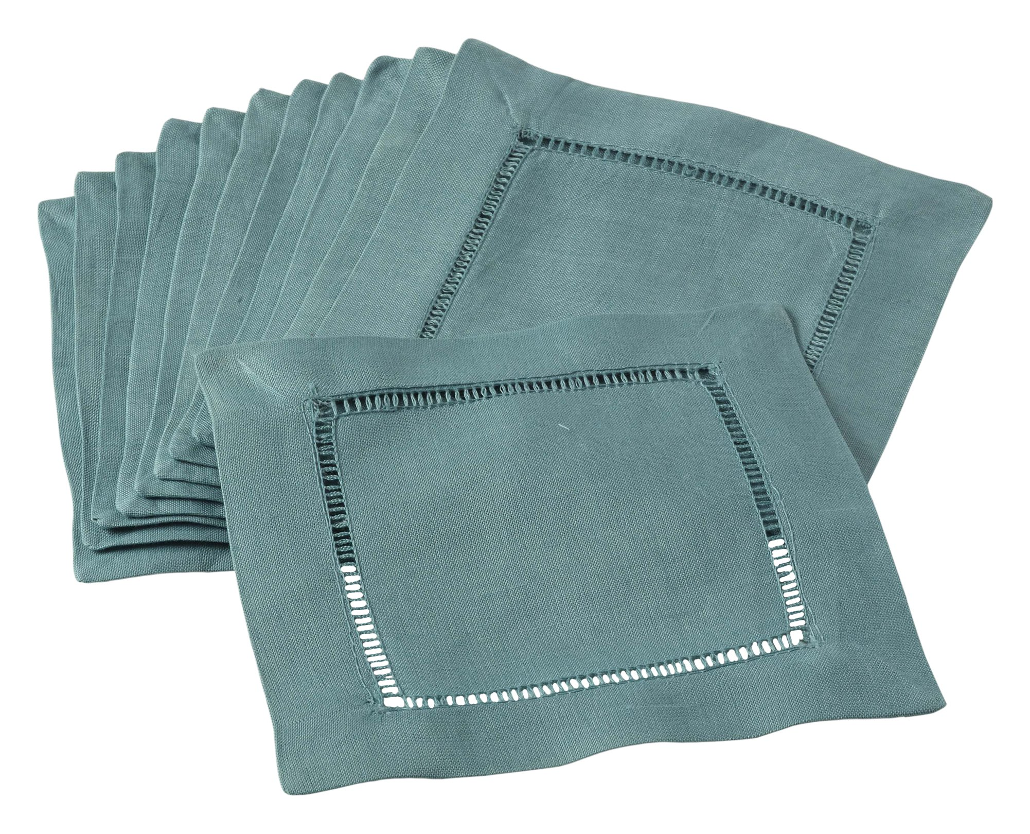 SARO LIFESTYLE 6100C.SE6S 24/7 Everyday Collection Hemstitched Cocktail Napkin (Set of 12), 6'' Square, Sea Green