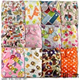 LittleBloom Lot de 12 couches réutilisables en tissu Fermeture à bouton-pression