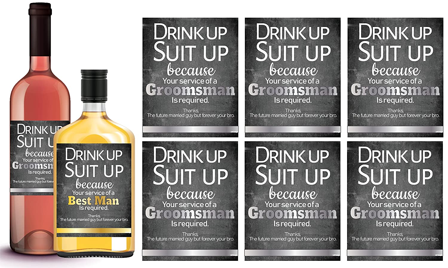 6 Will You Be My Groomsman + 1 Bonus Best Man Proposal Wine Labels or Liquor Labels, Whisky, Vodka, Rum, Beer Bottle Labels or Stickers Set, Groomsmen Party Favors, Party Decorations. Proposal