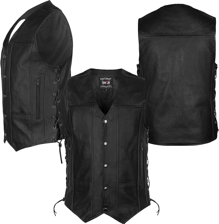 Medium CHEST 40 INCHES DEFY Mens Black Genuine Leather 10 Pockets Motorcycle Biker Vest New