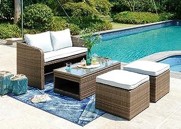 Garden Sofa Set 4pcs Rattan Furniture Storage Lift Top Coffe Table Loveseat 4 Seater