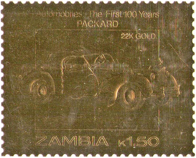 Zambia : Automóviles : los primeros 100 años - Packard / hoja de oro de valor sello / Cara 1,50 K / 22K Oro Folio / 1987 / Zambia / MNH: Amazon.es: Juguetes y juegos