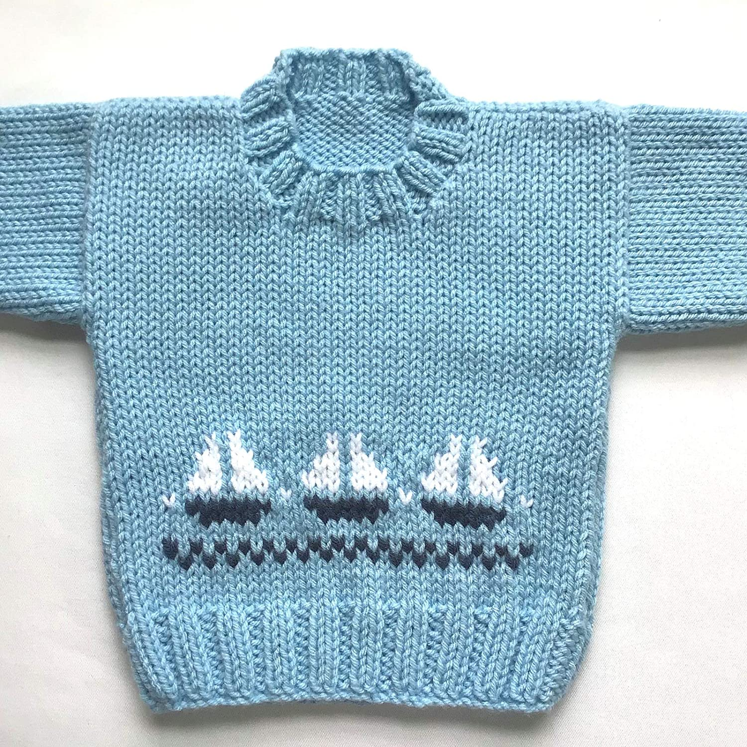 384daf31f Amazon.com  6 to 12 months baby boy sailboat sweater  Handmade