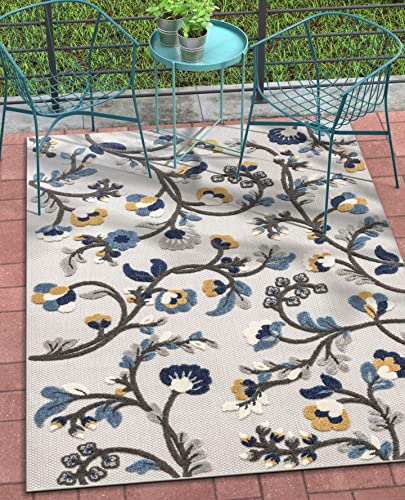 Well Woven Darla Floral Grey Indoor Outdoor Area Rug 8×11 7 10 x 9 10 High Traffic Stain Resistant Modern Carpet