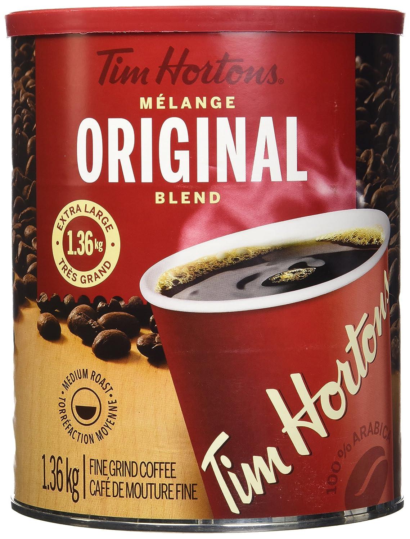 Tim Hortons 100% Arabica Medium Roast Original Blend Ground Coffee, 48 Ounces, 3 Pound Can, Imported from Canada