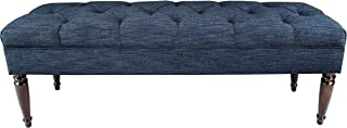 product image for MJL Furniture Designs Claudia Collection Upholstered Diamond Tufted Bedroom Accent Bench, Lucky Series, Denim