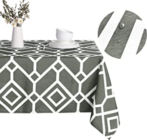 LUSHVIDA Moroccan Rectangle Table Cloth – Washable Water Resistance Microfiber Moroccan Tablecloth Decorative Table Cover for Picnic Banquet Party Kitchen Dining Room, 150 GSM (70 x 70 Inch, Grey)