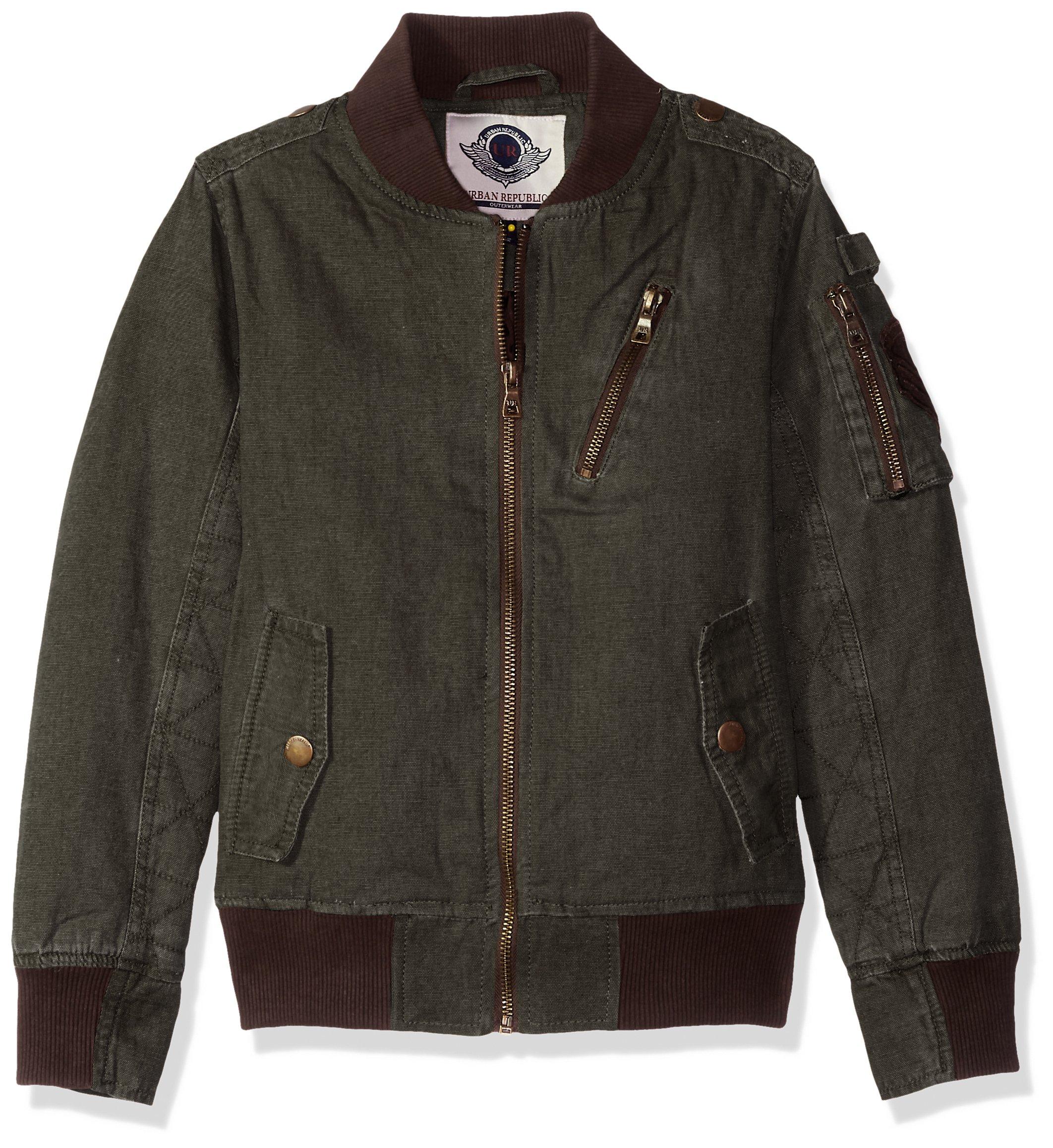 Urban Republic Big Boys' Aviator Cotton Canvas Jacket, Olive, 14/16