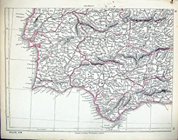 Karte Andalusien Portugal.Antiken Karte Süd West Spanien Gibraltar Andalusien Lissabon