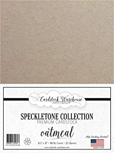Oatmeal Speckletone 100% Recycled Cardstock Paper - 8.5 x 11 inch - PREMIUM 80 LB. COVER - 25 Sheets
