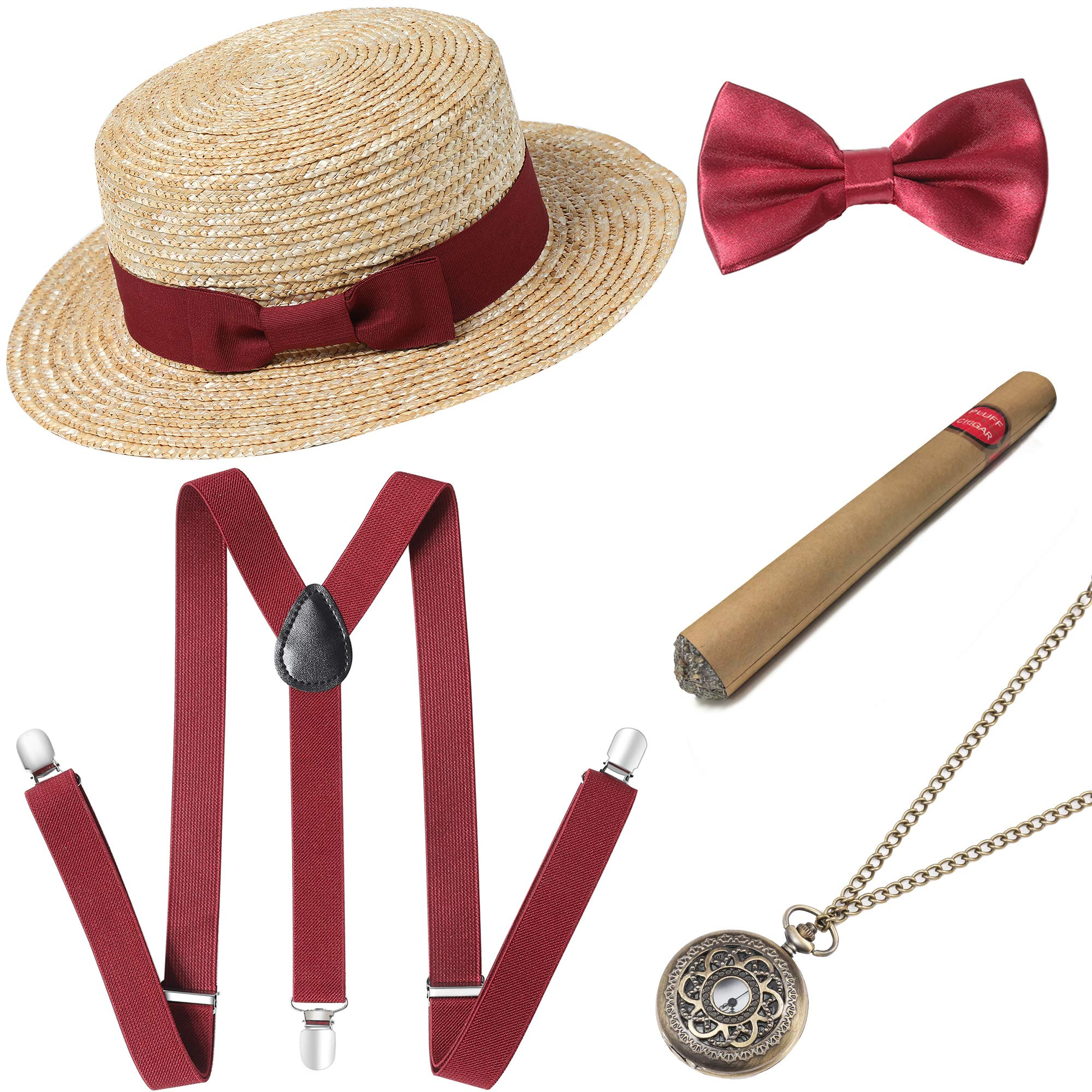 BABEYOND 1920s Mens Gatsby Costume Accessories Set Includes Brim Boater Hat Elastic Y-Back Suspender Pre Tied Bow Tie Pocket Watch and Plastic Cigar (Set-4) by BABEYOND
