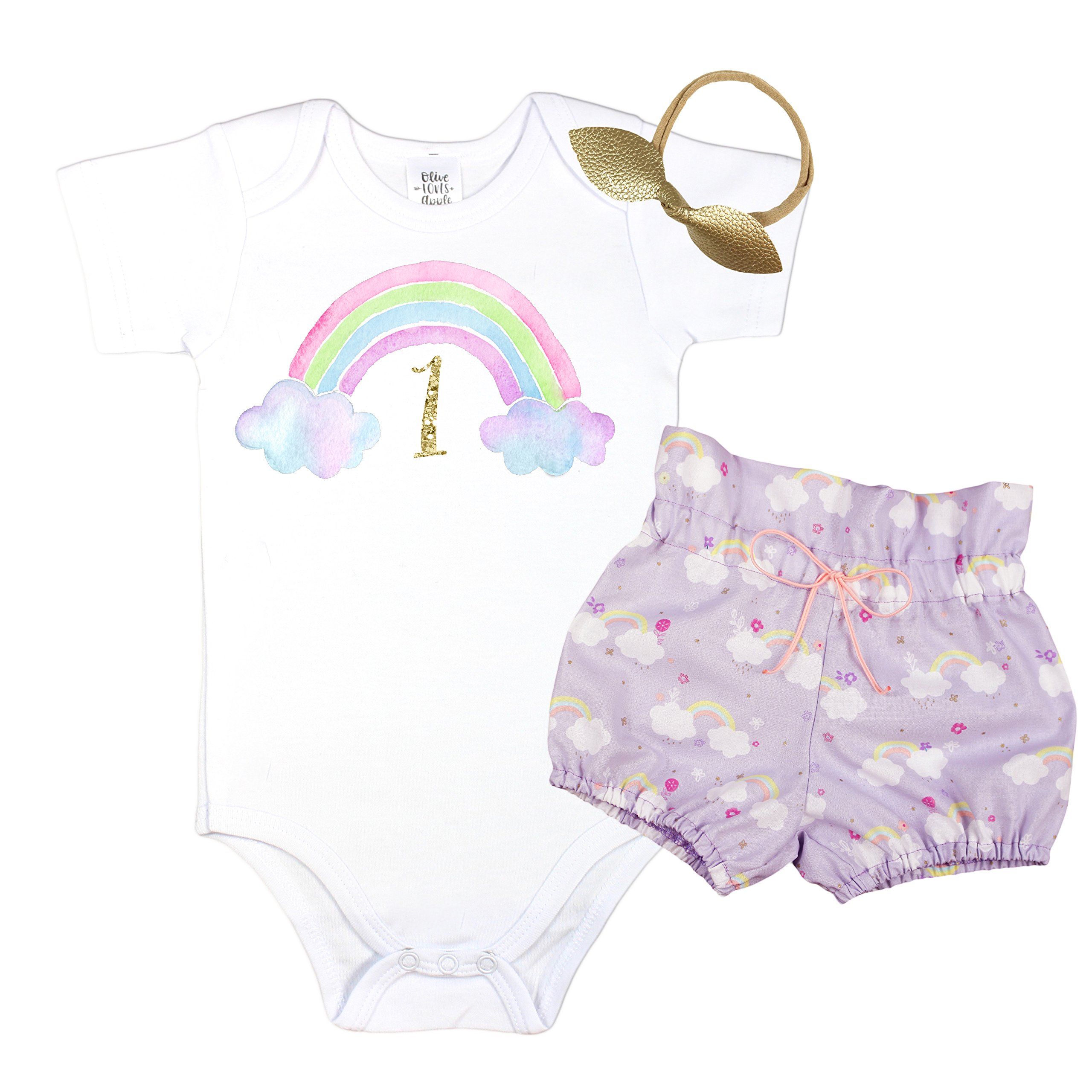 Olive Loves Apple 1st Birthday Girl Outfit Summer High Waisted Bloomer Rainbow Theme 1st Birthday Outfit Girl
