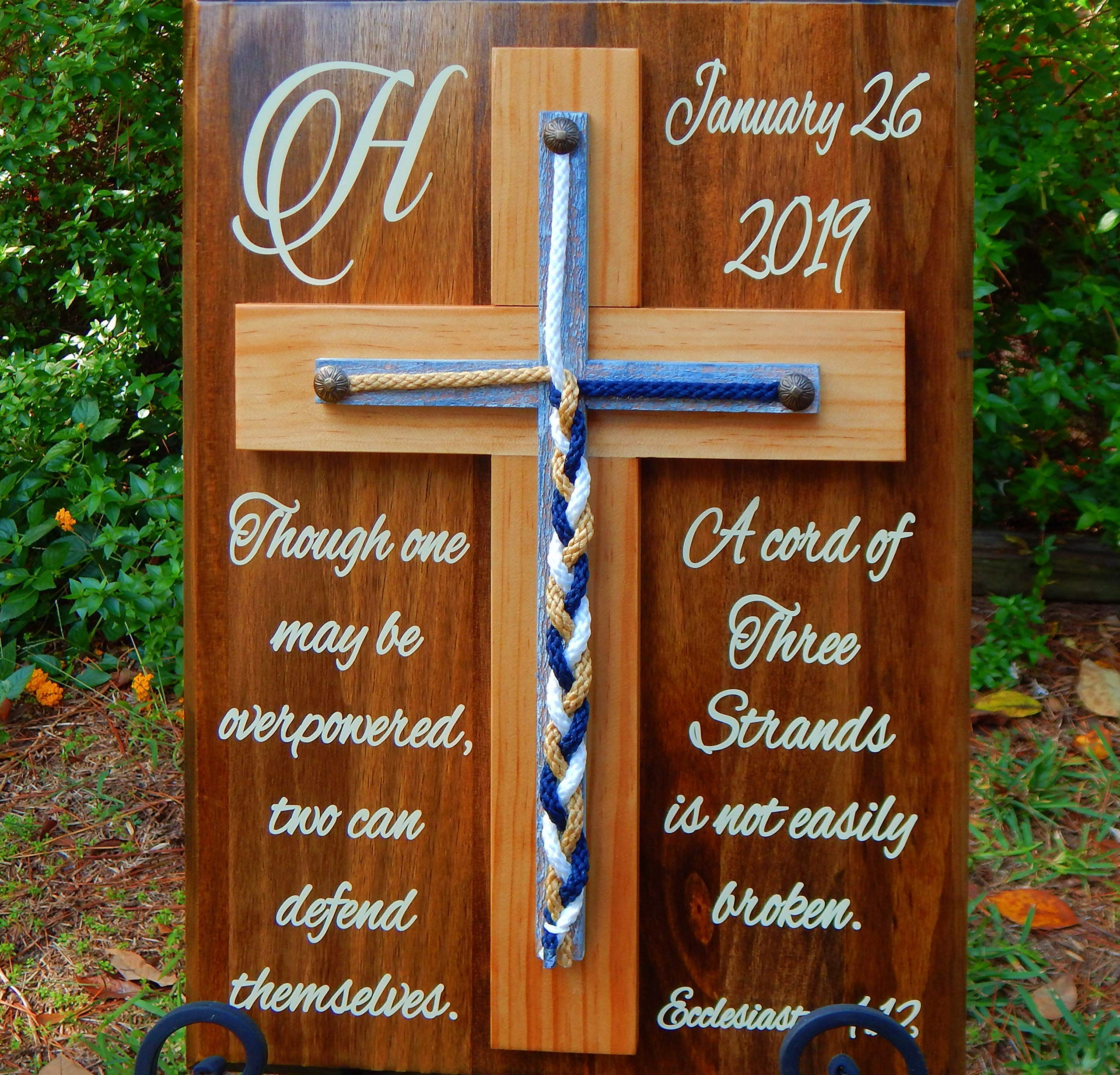 A cord of Three Strands, Wood Cross, Unity Braids Sign