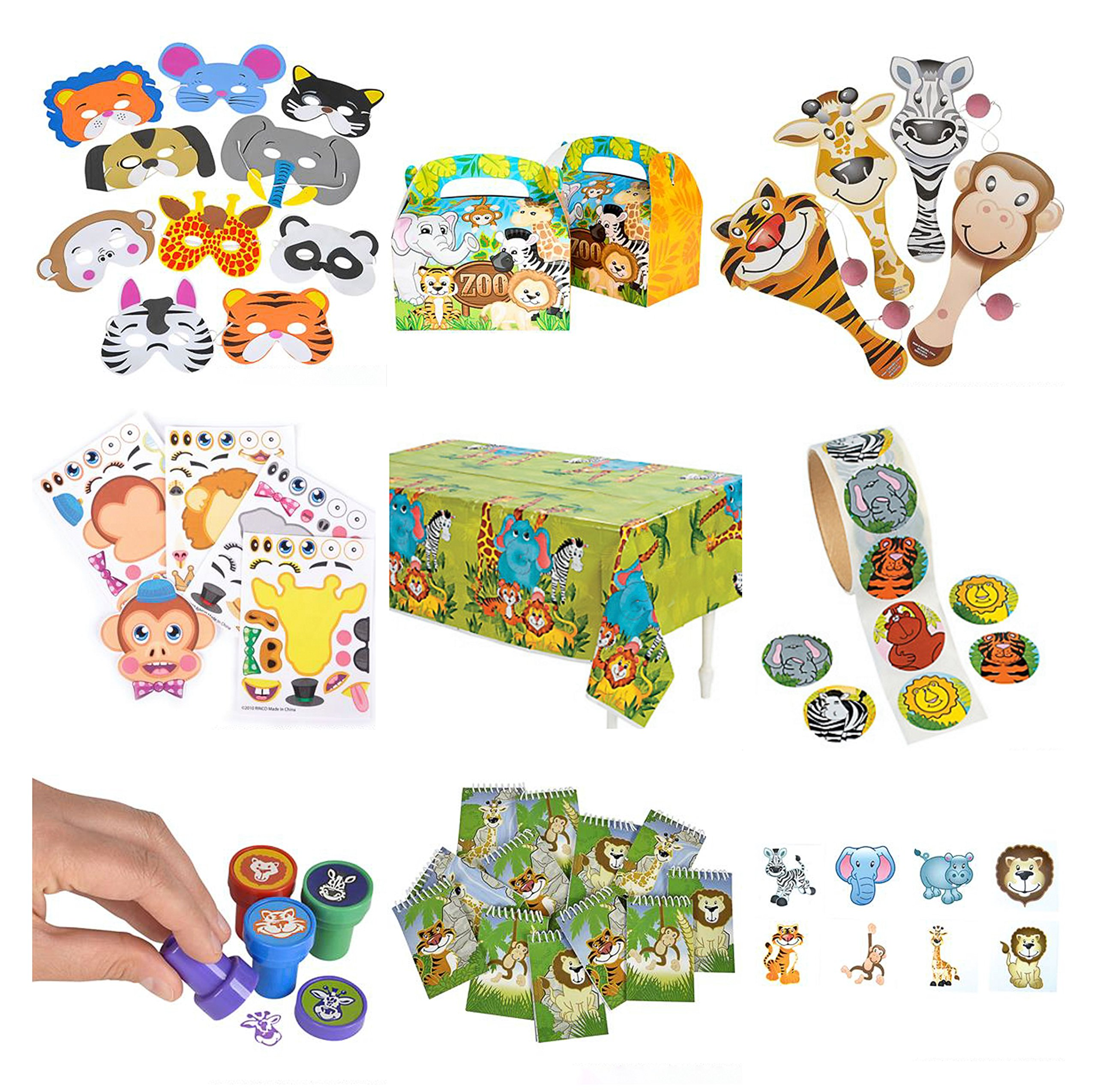 Zoo Animal & Safari Party Supplies and Favors: 12 Treat Boxes, 12 Animal Masks, 144 Tattoos, 12 Paddle Balls, 12 Make Zoo Stickers, 12 Notebooks, 100 Stickers, 24 Stampers, 1 Zoo Animal Tablecloth