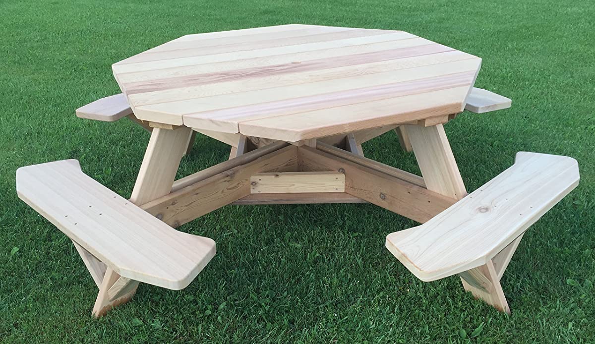 """Western Red Cedar 61"""" Octagon Top Picnic Table w/Easy Seating"""
