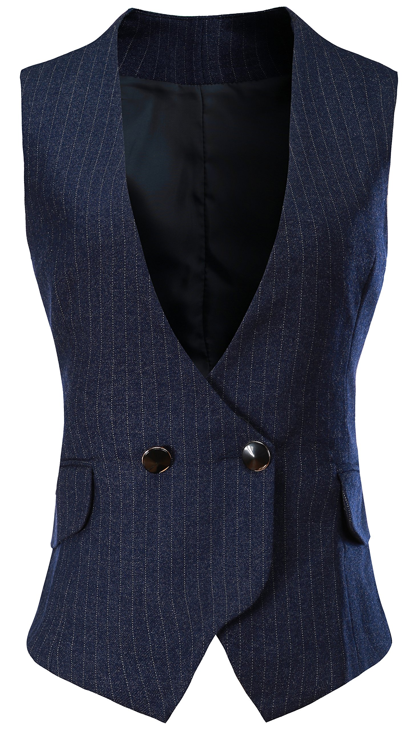 Vocni Women V-Neck Lined Slim Fit Waistcoat Dreesy Suit Vest Style 2_blue Pinstripe US XS(Asia M) (Fit Bust 30.3''-32.7'')