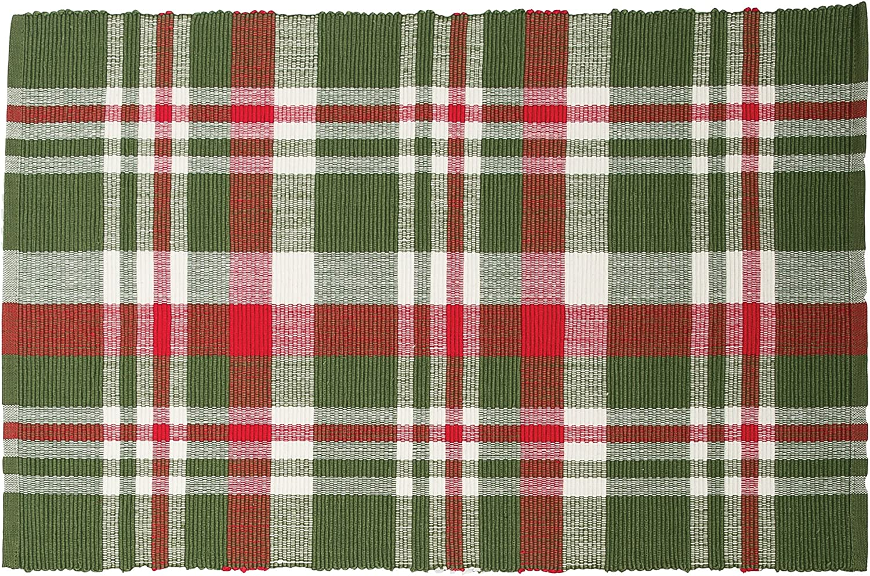 C&F Home Owen Plaid Cotton Reversible Machine Washable Placemat Set of 6 Rectangular Placemat Set of 6 Green