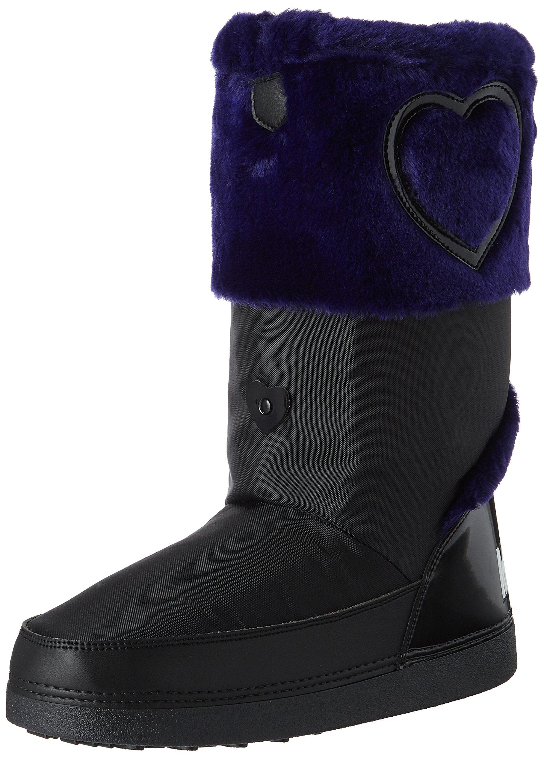 Love Moschino Women's JA24232G04JK200C Fashion Boot, Black/Purple, 35-36 M EU (5-6 US)